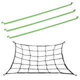 GROWNEER 3 Packs 48 Inches Grow Tent Support Poles Hanging Bar and Flexible Net Trellis Including 4 Steel Hooks, 36 Growing Spaces for Grow Tents, Fits 4 x 4 Feet and More Size
