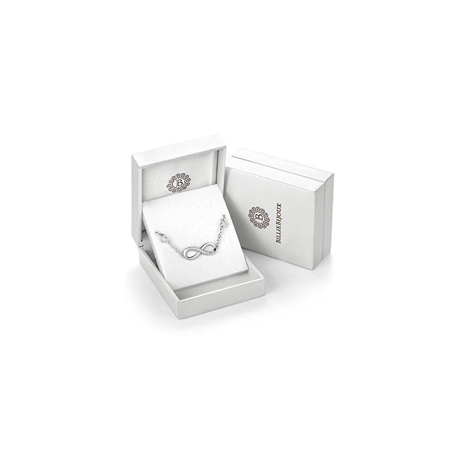 Billie Bijoux Womens 925 Sterling Silver Infinity Endless Love Symbol Charm Adjustable Anklet Bracelet, Large Bracelet, Gift for Mother's Day (A Silver)