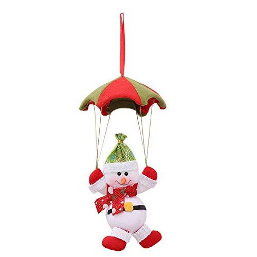 Quaanti New Year Christmas Decorations Parachute Santa Claus Snowman Xmas Tree Hanging Ornaments Home Party Festival Gift Decoration (White) (Parachute Ornament Santa)