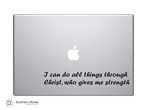 I Can Do All Things Through Christ Who Gives Me Strength. Bible Verse Vinyl Car Sticker Symbol Silhouette Keypad Track Pad Decal Laptop Skin Ipad Macbook Window Truck - Bible Laptop Decals Verse
