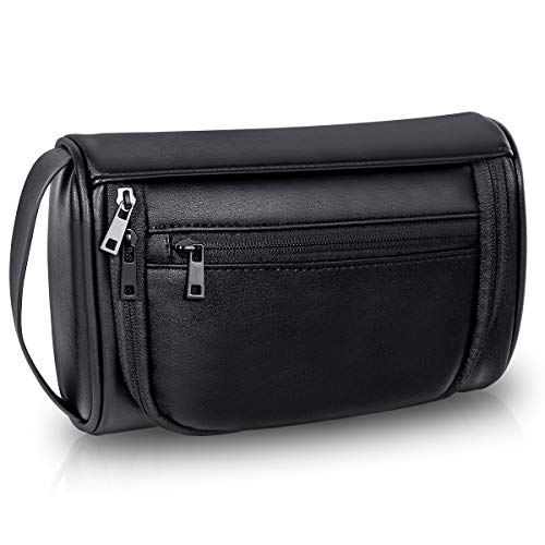 Toiletry Bag for man Vintage Leather Travel cosmetic bag Waterproof Portable High capacity Shaving Kit Organizer Bag for Household Business Vacation Black