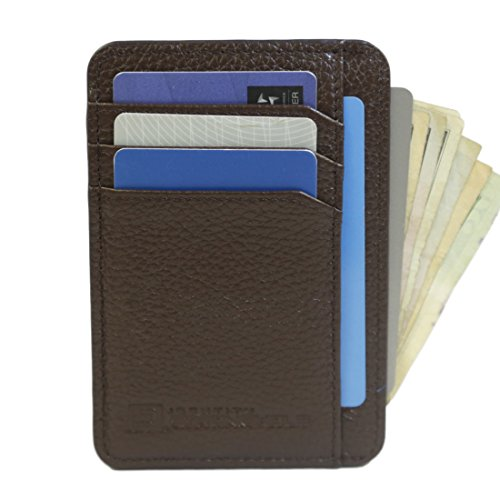 RFID Wallet Front Pocket Mini - Protective Minimal Wallets for Men and Women (Brown)