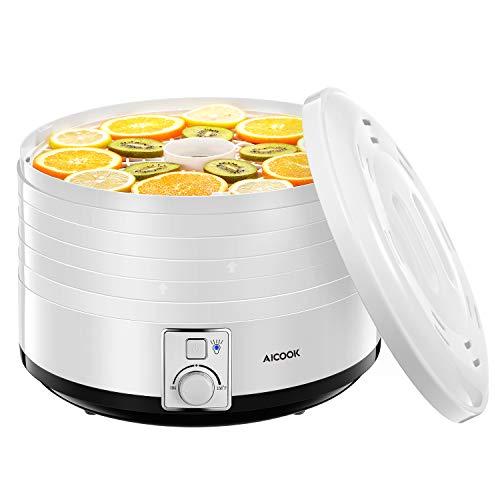 AICOOK Food Dehydrator, 5-Tray Food Dehydrator Machine with Temperature Settings for Jerky, Meat, Fruit, Vegetable & Herb, 500Watt, BPA-Free, ETL & FDA Certified