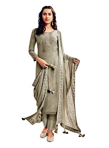 ladyline Silk Chikan Embroidered Plain Salwar Kameez with Heavy Embroidered Dupatta