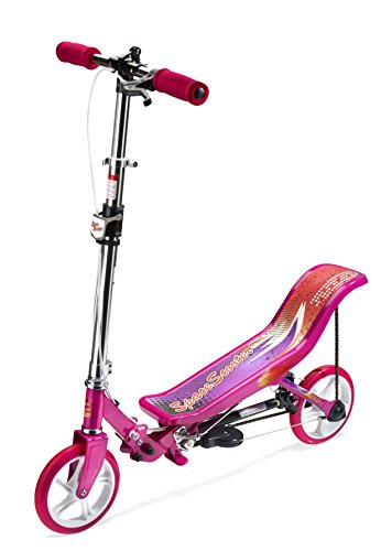 SpaceScooter Push Board Teeter Totter Kids Scooter with Brake, Air Suspension & Compact Fold - Pink