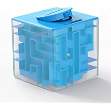 ThinkMax Money Maze Puzzle Box for Kids and Adults - Unique Way to Give Gifts for People You Love - Fun and Inexpensive Game Challenge for Children Birthday Christmas Gifts (blue)
