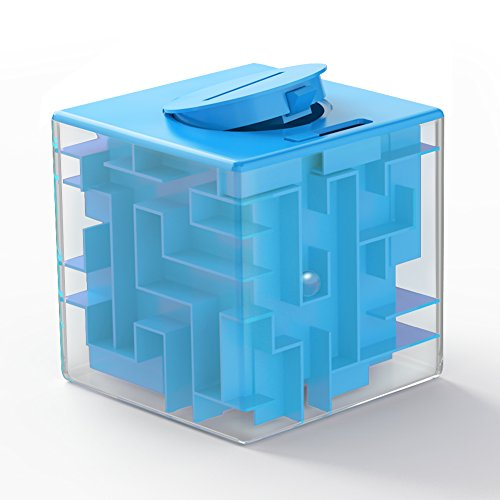 Maze Box (ThinkMax Money Maze Puzzle Box for Kids and Adults - Unique Way to Give Gifts for People You Love - Fun and Inexpensive Game Challenge for Children Birthday Christmas Gifts (blue))