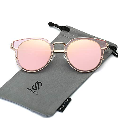 SOJOS Fashion Polarized Sunglasses for Women UV400 Mirrored Lens SJ1057 (C02 Rose Gold Frame/Pink Mirrored Polarized Lens, 53)