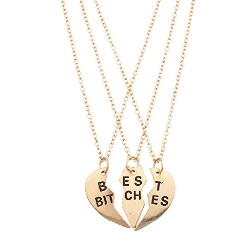 Lux Accessories Best Bitches BFF Friends Forever Valentine Heart 3 PC Necklace Set