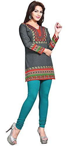 Maple Clothing Womens Printed Kurti Tunic Top Short Blouse Indian Clothes – S…Bust 34 inches, Grey