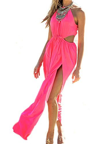 Choies Women's Pink Halter Sheer Insert Cut Out Split Maxi Dress XL (Side Cut Dress Sexy Out)