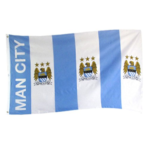 MAN City Stripe bandiera grande, unisex, Sky Blue, Taglia unica