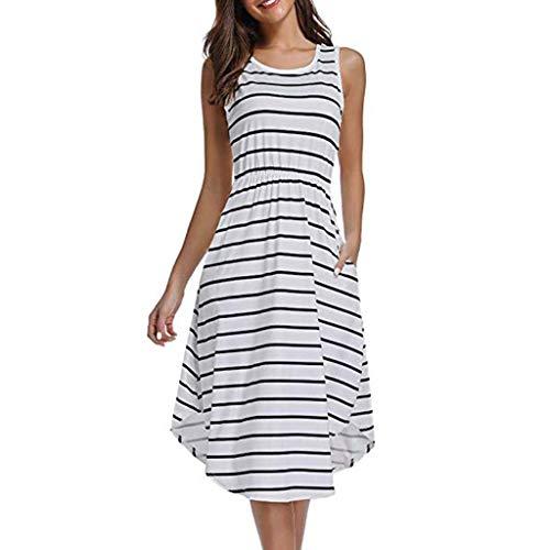 Kinglly Ladies Casual Girls Dress Stripe Party Work Sleeveless Mini Dress ()