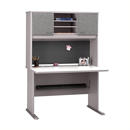 Bush Furniture Advantage Series 48'' Credenza with Hutch in White Spectrum and Pewter