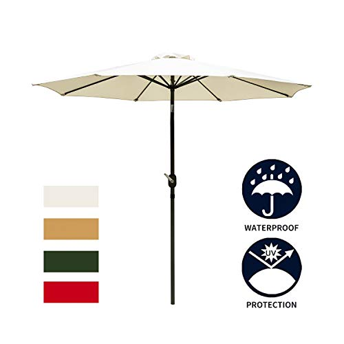 Ainfox 9ft White Patio Umbrella, Outdoor Table Umbrella Yard Umbrella with 8 Steel Umbrella Ribs,Push Button Tilt, Waterproof Prevent Bask in for Garden, Indoor, Outdoor Without Base White