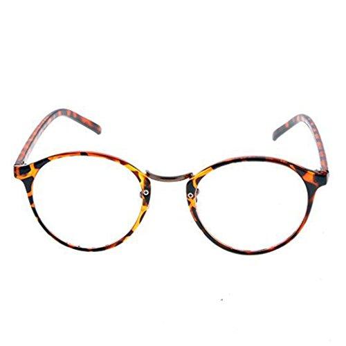 eshion 4 Colors New Personality Practical Decoration Retro Round Lens Plano Optical Glasses (Leopard, 4.5cm - Plano Lenses