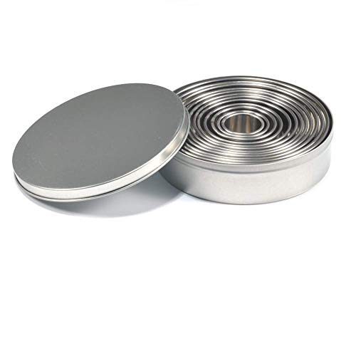 (12 Pcs Stainless Steel Round Cookie Biscuit Cutter Baking Metal Ring Molds for Dough Fondant Donut Muffins)
