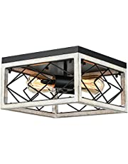 2-Light Rustic Square Metal Cage Flush Mount Ceiling Lights, YILYNN Farmhouse Wood Grain Color Close To Ceiling Light Fixture For Hallway, Entryway, Foyers, Porch,Dining Room, Living Room, Farmhouse Light