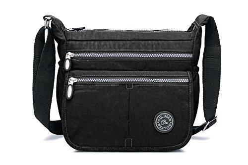 Womens Multi Zip Pockets Fabric Lightweight Cross Body Bag Shoulder Bag Messenge