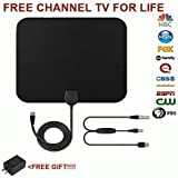 Good HDTV Antenna, 65-80 Mile Range Indoor With Amplified. TV Antenna with Detachable Amplifier Signal Booster With 10 Feet Coaxial Cable-Black and FREE BONAS USB Power Supply