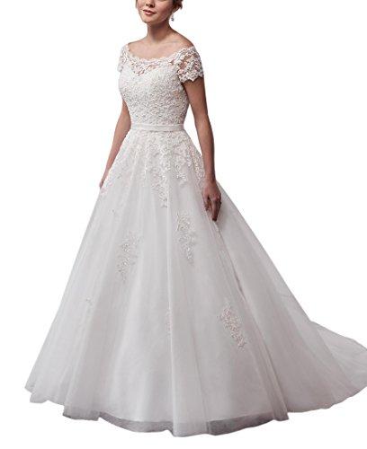 MythLove Women's A-Line Soft Chiffon Lace Bodice Button Back Fashion Simple Beach Wedding Dress White 12 Bodice Bridal Wedding Dress