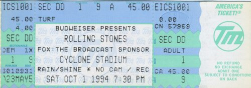 Rolling Stones 1994 Voodoo Lounge Unused Ticket Cyclone Stadium Brooklyn