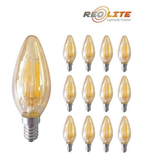 Reo-Lite 3.5 Watt LED Amber Glass Candelabra Candle Light Bu