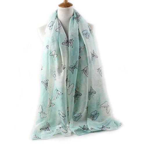 Scarf Dresser Butterflies (new Chiffon Scarf retro scarf multicolor butterfly print beach sun shawl shawl,Water green,90180cm)