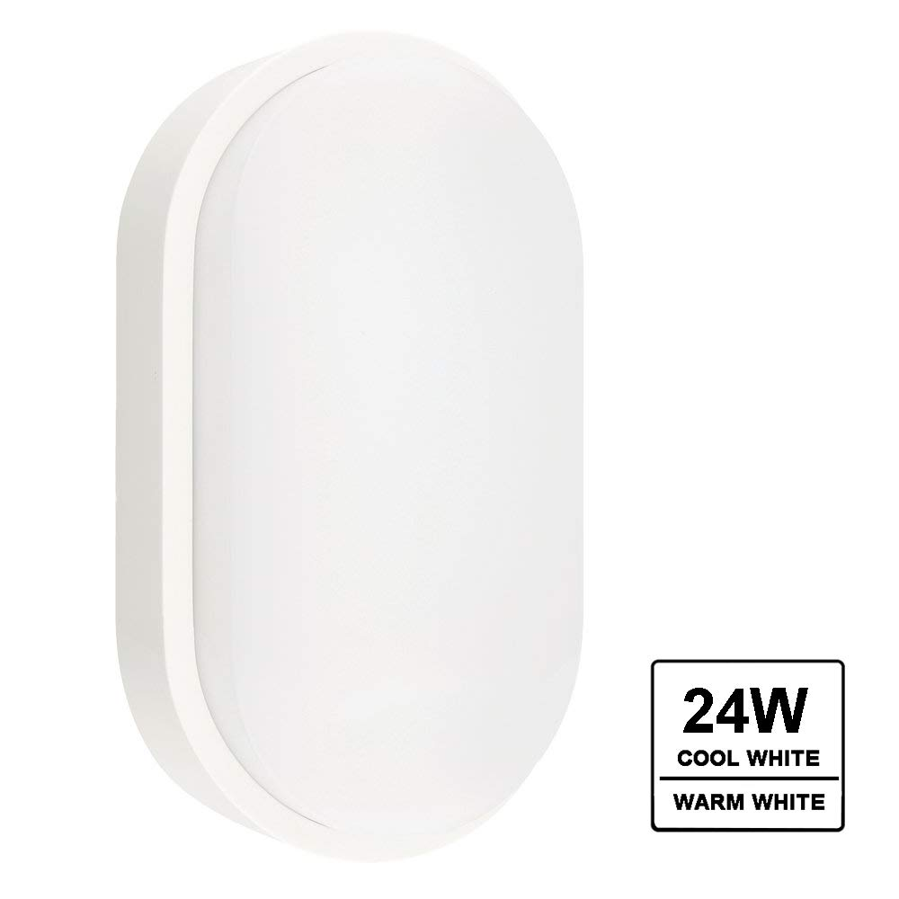 2400lm 200W Equiv VARICART 24W LED Bulkhead Wall Light Surface Flush Mount Security Round Lamp IP65 Waterproof for Outdoor Indoor Bathroom Ceiling Hallway Stairway Garage Porch 3000K Warm White