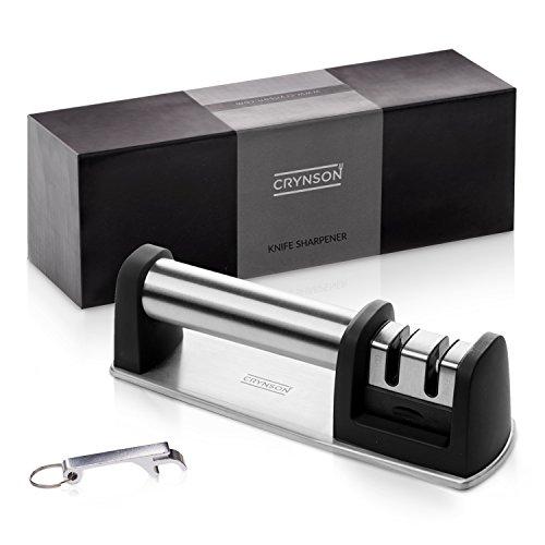 Kitchen Stainless Steel Knife Sharpener by Crynson | Sturdy Sharpening Tool + Versatile Key Chain Bottle Opener