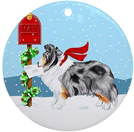 (Voicpobo Blue Merle Sheltie Mail Christmas Ornaments Round Novelty Ceramic Christmas Tree Decoration Ornament Gifts for Friends,for Family)