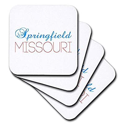 3dRose Alexis Design - American Cities Kentucky-Nebraska - Springfield, Missouri blue, red text. Patriotic home town design - Coasters