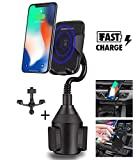 Bysionics Wireless Car Charger,360 Degree Fast Wireless Charging Cup Phone Holder & Air Vent Car Phone Mount Compatible with iPhone XR/Xs Max/Xs/X/8,Samsung Galaxy S10 /S10+ /S10e/ S9 (Black)