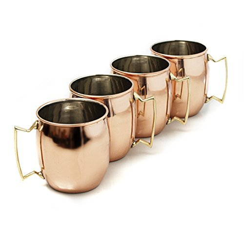MOSCOW MULE SET OF 4 16 OUNCE MUGS SOLID COPPER by Home Select by Home Select