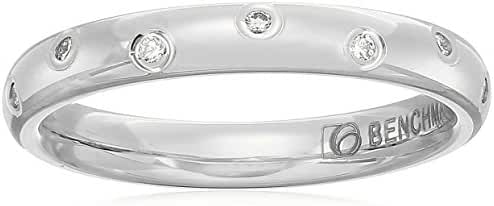 14k White Gold 3mm Offset Diamond Band Stackable Ring