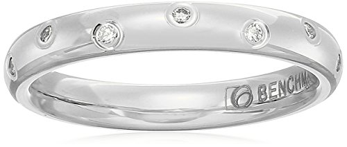 14k White Gold 3mm Offset Diamond Band Stackable Ring, Size 7 - White Diamond Stackable Ring