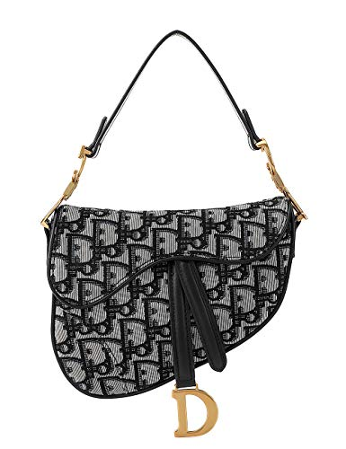 LA FESTIN Ladies Designer Crossbody Purses with Wide Shoulder Strap Trendy D-shape Printing Saddle Bags for Cool ()