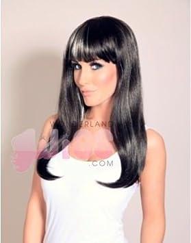 Larga peluca de color marrón oscuro con reflejos rubios platino - impresionante peluca - NUEVO -