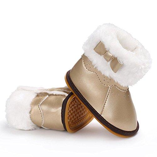 Baby Stiefel,Chshe Prewalker Säugling Süß Obere PU Leder Sohle Gummi Anti-Rutsch Weich Warm Kind schuhe Trainer Gold