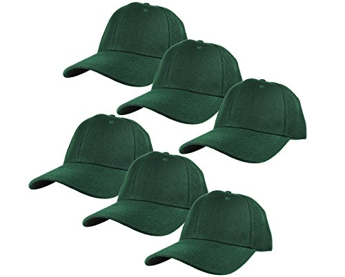 Gelante Plain Blank Baseball Caps Adjustable Back Strap Wholesale Lot 6 Pack - 001-Hunter Green-6Pcs