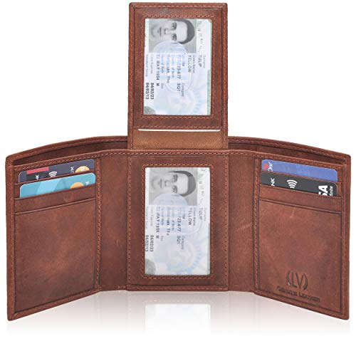 Genuine Leather Mens RFID Blocking Slim Trifold Wallet with Middle Flap 9 Cards+ 2 ID Window + 2 Note Compartments. (Brown Crazy Horse)