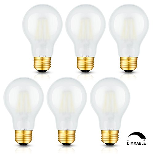- CRLight LED Edison Bulb 6W Dimmable 5000K Daylight White 600LM, 60W Equivalent E26 Medium Base, A60 Frosted Glass Antique LED Filament Bulbs, Pack of 6