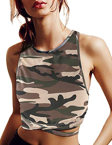 - ASMAX HaoDuoYi Womens Jersey Training Sports Crop Top Backless Tank T Shirt Army Green