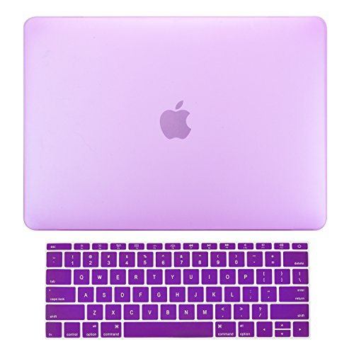 TOP CASE - MacBook Pro 13 Without Touch Bar (2017 & 2016 Release) 2 in 1, Rubberized Matte Hard Case Cover + Matching Color Keyboard Cover for MacBook Pro 13-inch A1708 Without Touch Bar - Purple