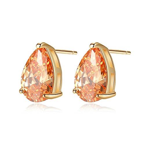(ailov Gold Plated Cubic Zirconia Stud Earrings for Women Vintage Teardrop Shaped (Orange))
