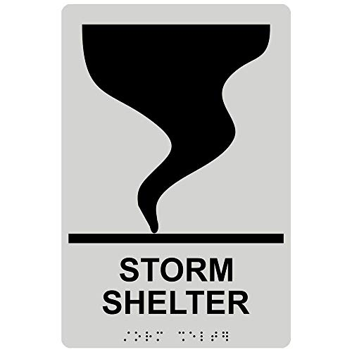 (Storm Shelter Sign, ADA-Compliant Braille and Raised Letters, 9x6 in. Black on Pearl Gray Acrylic with Adhesive Mounting Strips by ComplianceSigns)