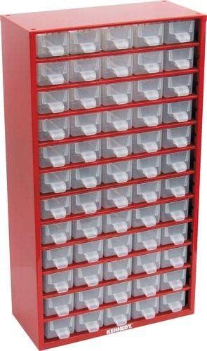 Kennedy Kleinteilemagazin Lagerschrank rot aus Stahl 551x306x155 mm mit 60 trans Schubladen aus Polypropylen
