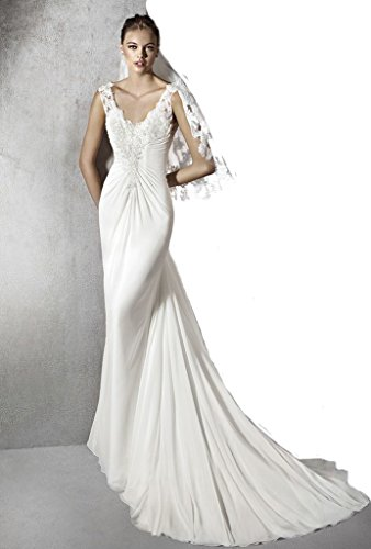 Gogh White Long Jersey Gown with Beaded Trail Detail Size US12 by Gogh