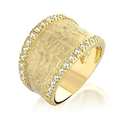 Bling Jewelry Pave CZ Hammered Matte Modern Gold Plated Ring free shipping
