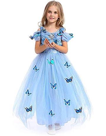 3caac276625ec URAQT Girls Princess Dresses Blue Butterfly Queen Costume Tulle Dress Fancy  Wedding Dress Cinderella Skirt